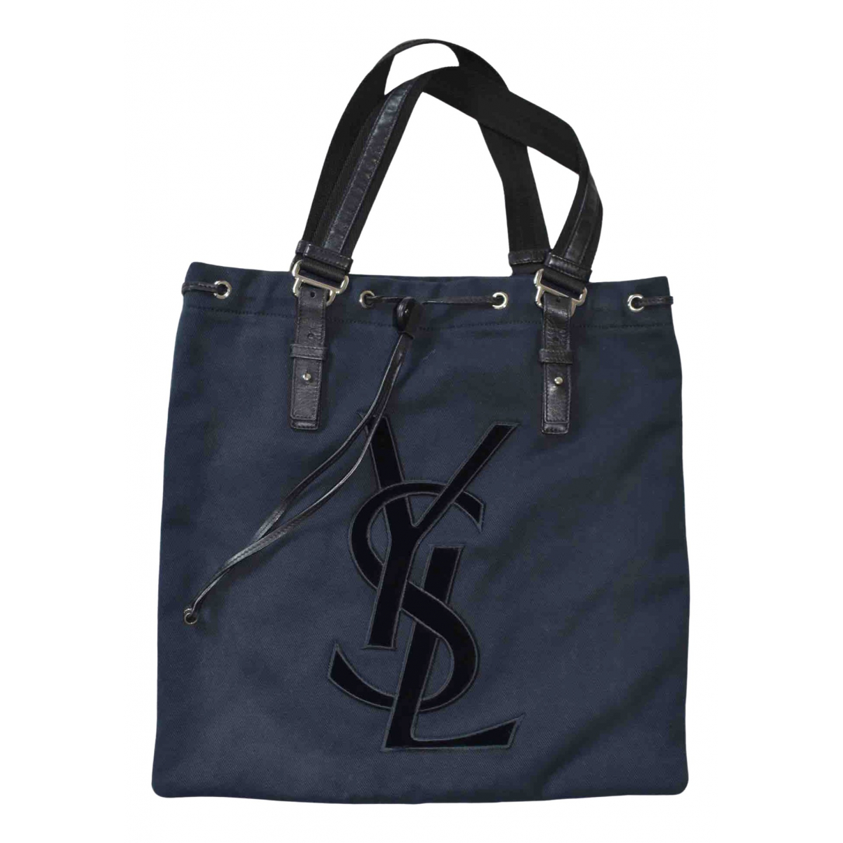 Yves Saint Laurent \N Handtasche in  Marine Baumwolle