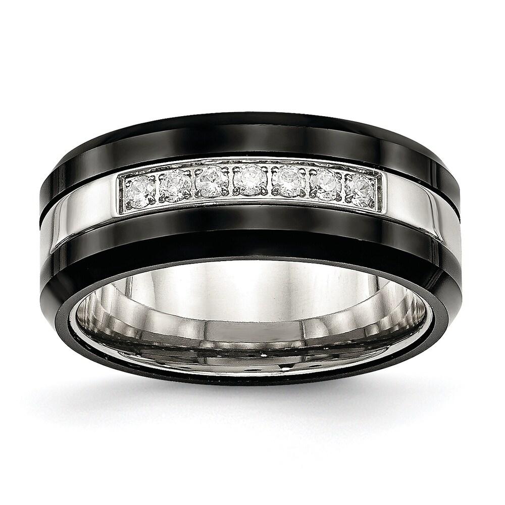 Chisel Stainless Steel Polished Black Ceramic CZ Beveled Edge Ring (8)