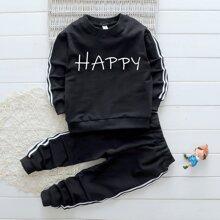 Sweatshirt mit seitlichem Streifen und Buchstaben Grafik & Jogginghose