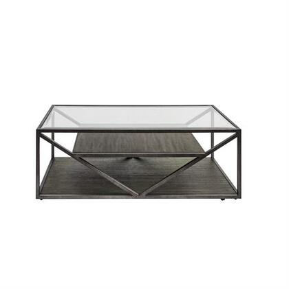 Arista Collection 37-OT1010 Cocktail Table with Castered Cocktail Table  Floating Wood Shelf and Tempered Glass   in Cobblestone Brown Finish with