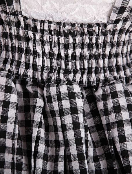 Milanoo Sweet Lolita Dress SK Check Bow Lolita Suspender Skirt