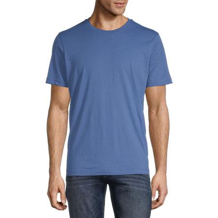St. John's Bay Super Soft Heathered Mens Crew Neck Short Sleeve T-Shirt, Large , Blue