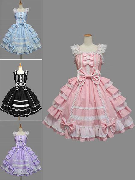 Milanoo Sweet Lolita Dress JSK Rococo Pink Cotton Lace Bow Ruffled Layered Lolita Jumper Skirt