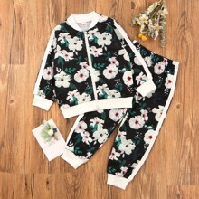 Toddler Girls Floral Print Bomber Jacket & Sweatpants