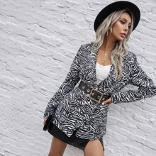 Zebra Striped Split Back Blazer