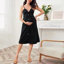 Maternity Tied Button Front Peekaboo Slip Dress