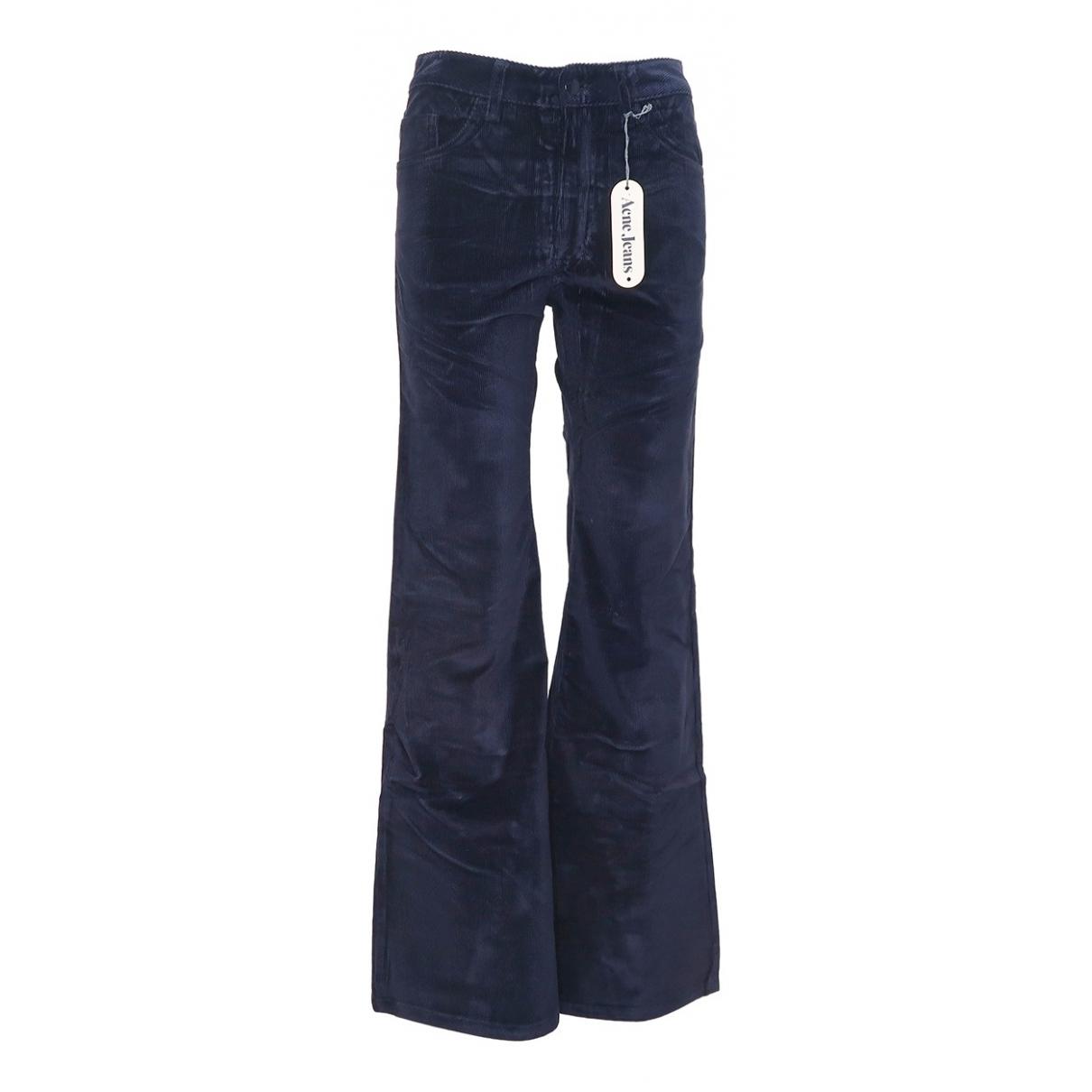 Acne Studios N Navy Velvet Trousers for Women 36 FR