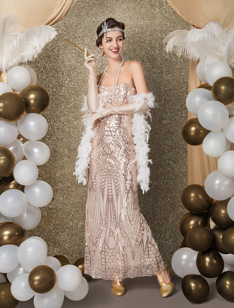 Milanoo Great Gatsby Flapper Dress 1920s Fashion Style Vintage Costume Women's Champagne Sequined Off the Shoulder Backup zipper long 20s party Outfit