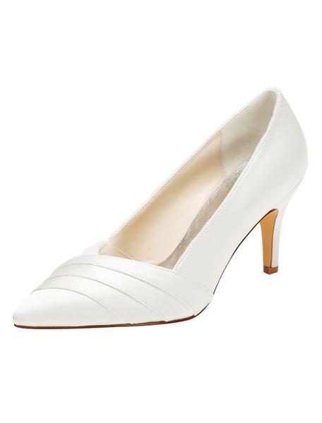 Milanoo Zapatos de novia de seda sintetica 8cm Zapatos de Fiesta Zapatos marfil  de tacon de stiletto Zapatos de boda de puntera puntiaguada con plieg