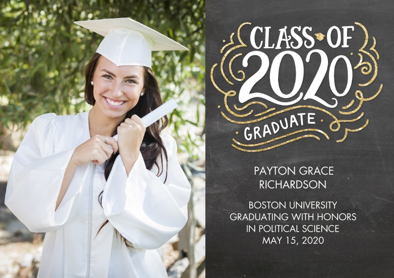 2020 Graduation Announcements 5x7 Cards, Premium Cardstock 120lb with Rounded Corners, Card & Stationery -2020 Class of HandLettered Swirls by Tumbali