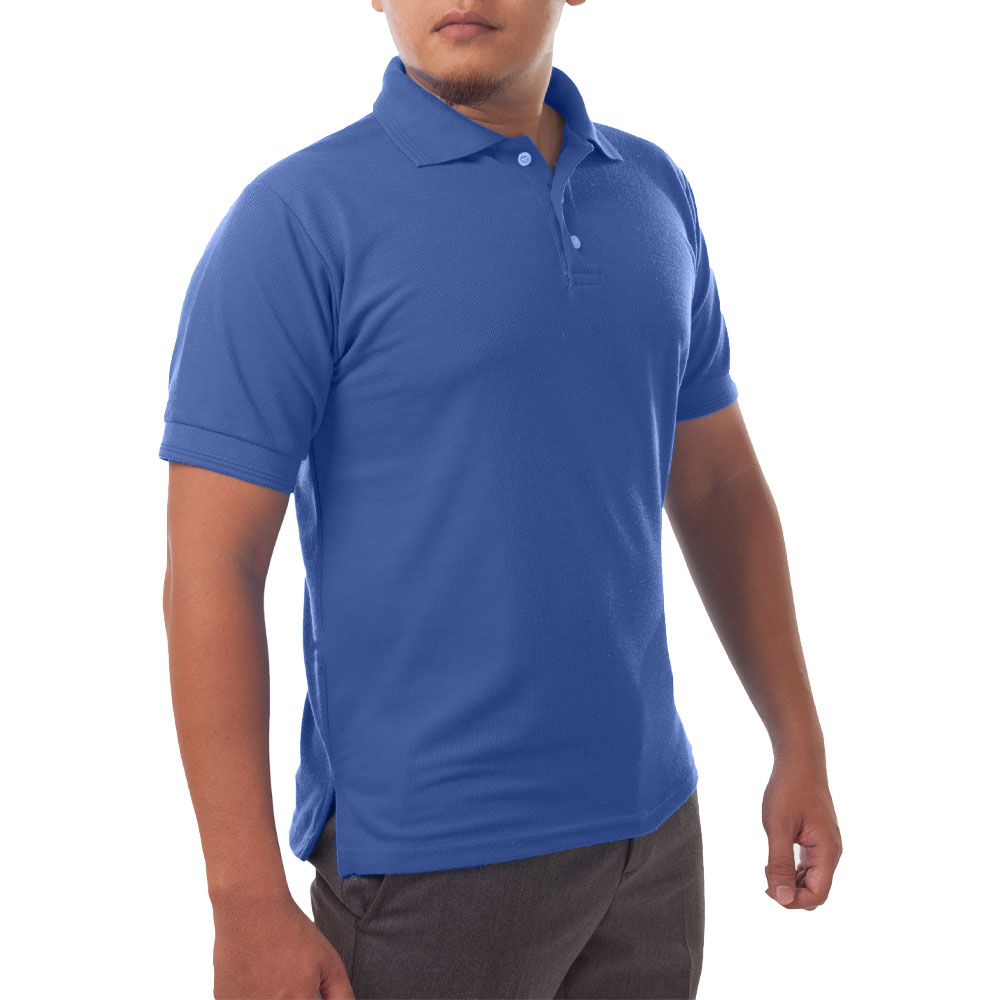 Page & Tuttle Solid Jersey Short Sleeve Polo Golf Shirt Blue- Mens- Size XLT