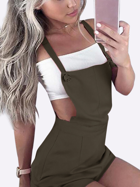 Yoins Casual Tie-Strap Playsuits in Army Green