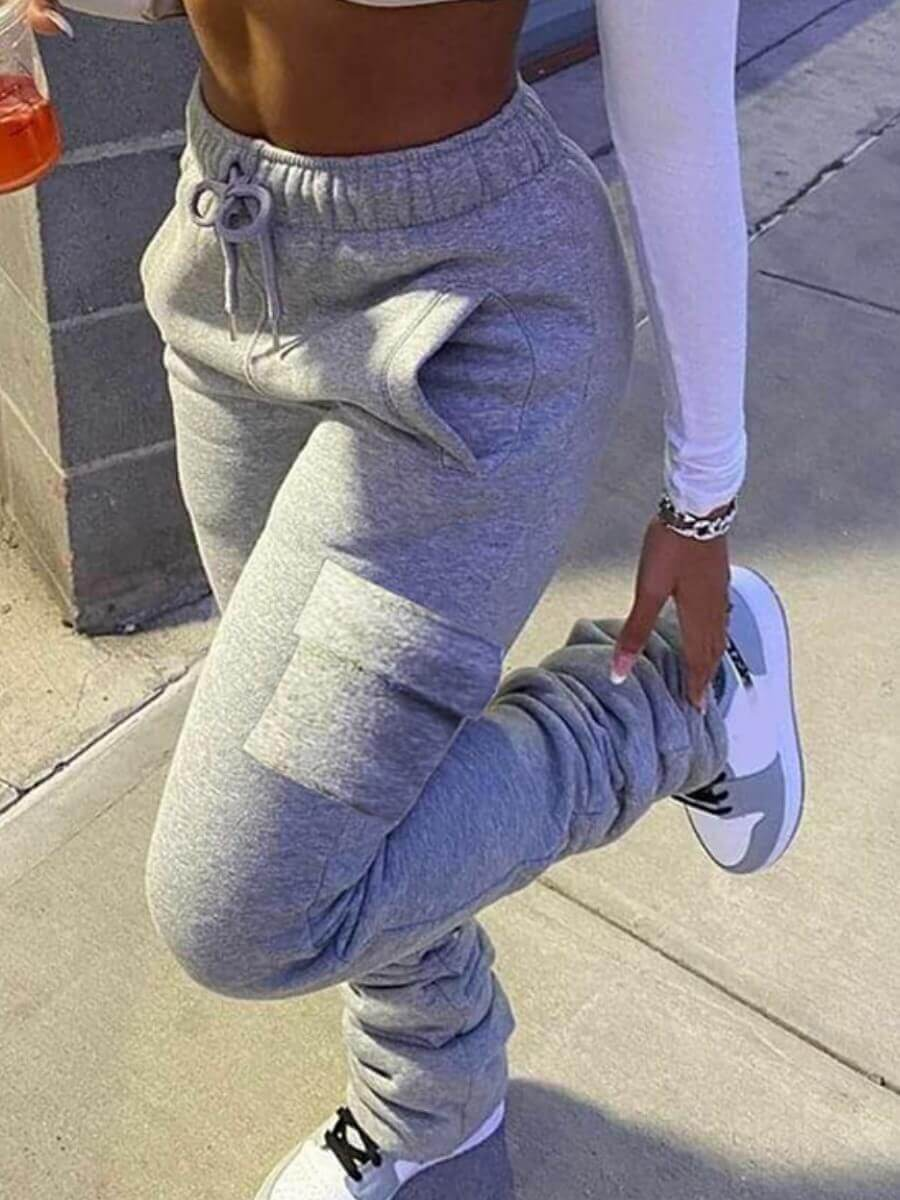 LW Lovely Casual Side Pocket Grey Pants