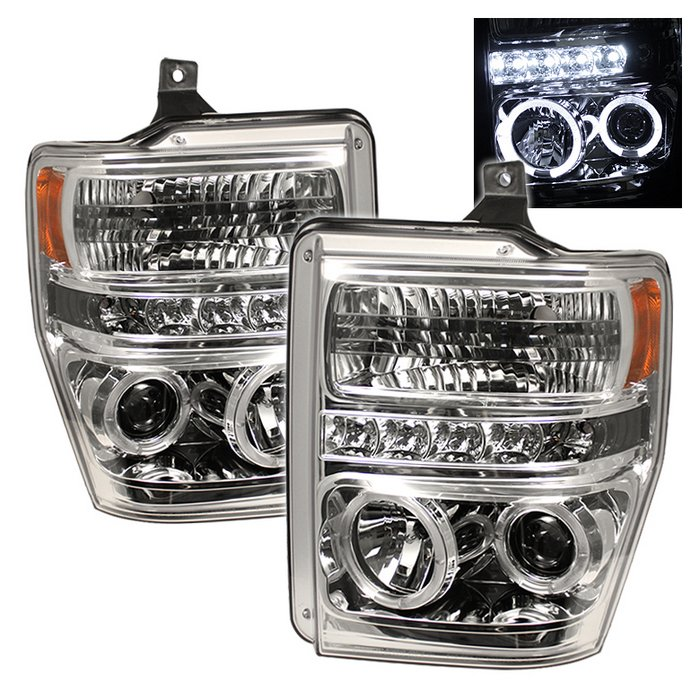 Spyder Halo LED Chrome Projector HeadLights Ford F250 350 450 Super Duty 08-10