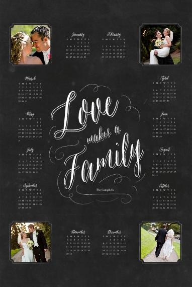 Calendar 20x30 Wood Panel, Home Décor -Family Chalkboard