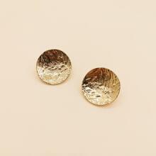 1pair Textured Round Stud Earrings