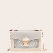 Star Pattern Push Lock Satchel Bag