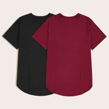 Men Curved Hem Solid Basic Tee 2pcs