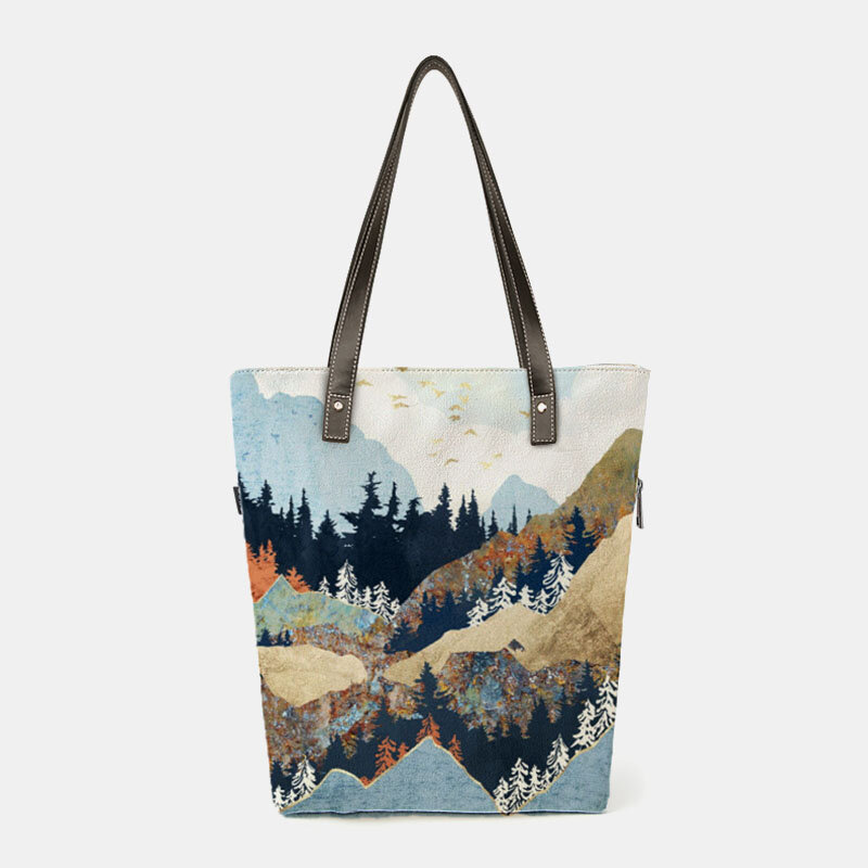 Women Canvas Ladies Mountain Treetop Print Bag Handbag