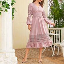 Lantern Sleeve Buttoned Front Shirred Waist Lace Insert Dress