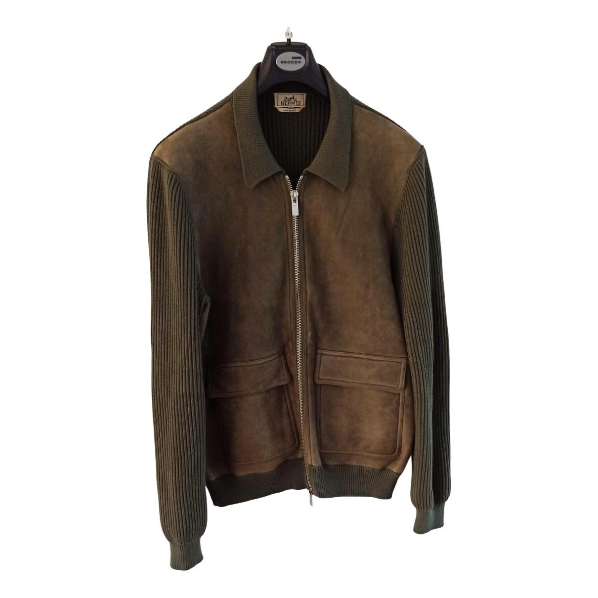 Hermès N Khaki Leather jacket  for Men XXL International