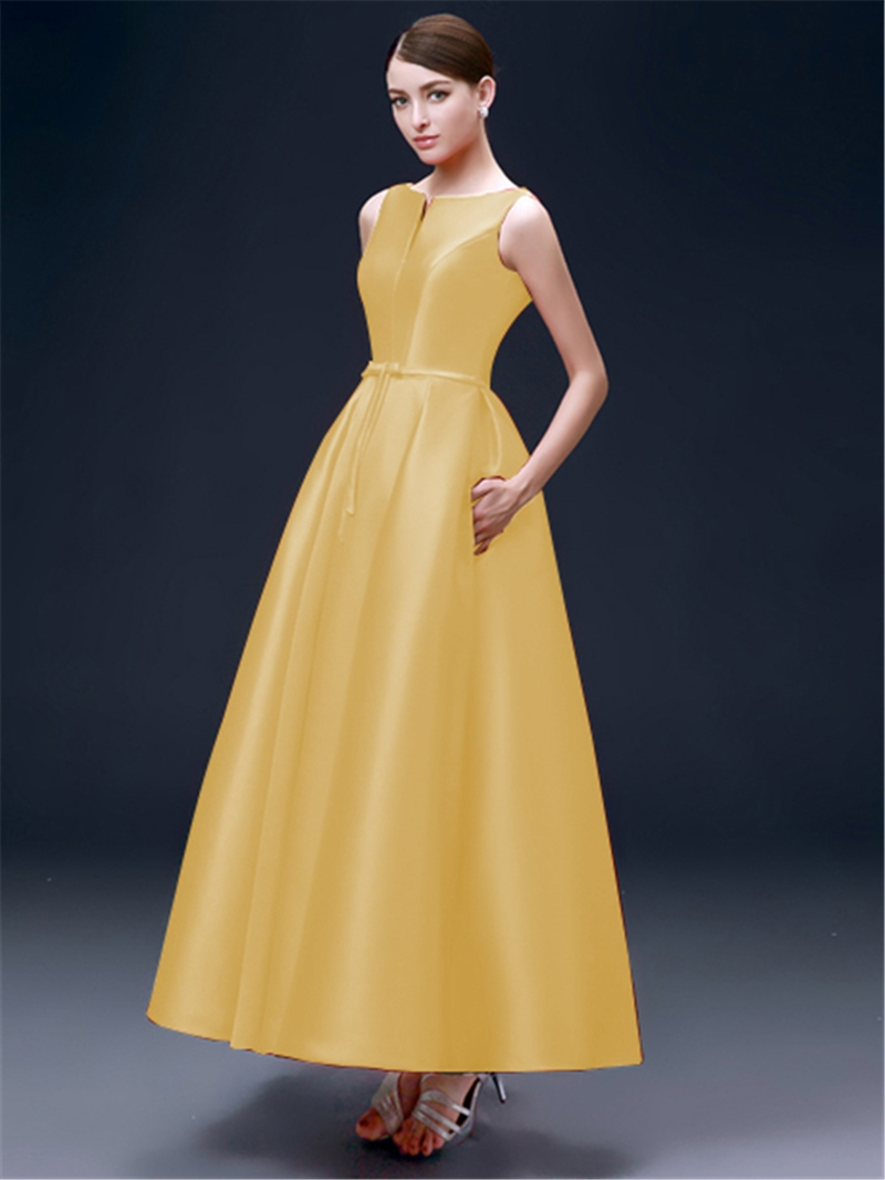 Ericdress A-Line Lace-Up Ankle-Length Evening Dress