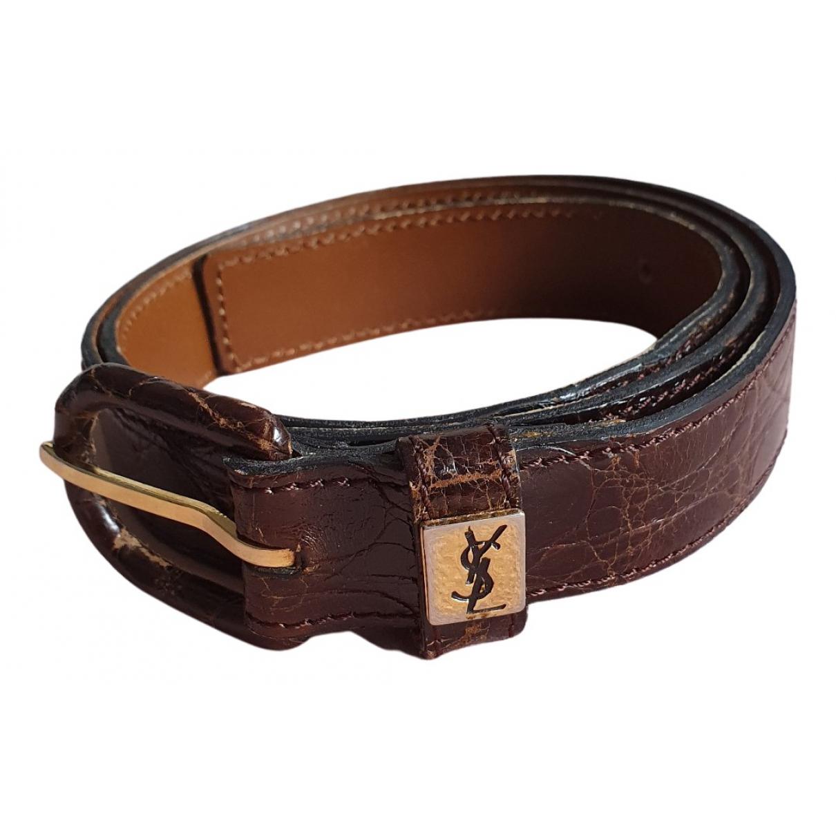 Yves Saint Laurent N Burgundy Patent leather belt for Women 75 cm