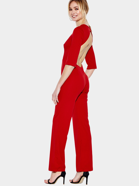 Yoins 3/4 Length Sleeves Backless Jumpsuit