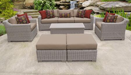 Coast Collection COAST-08c-WHEAT 8-Piece Patio Set 08c with 1 Armless Chair   2 Ottoman   1 Storage Coffee Table   2 Club Chair   1 Left Arm Chair