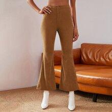 Double Crazy Cord Hose mit hoher Taille und ausgestelltem Beinschnitt