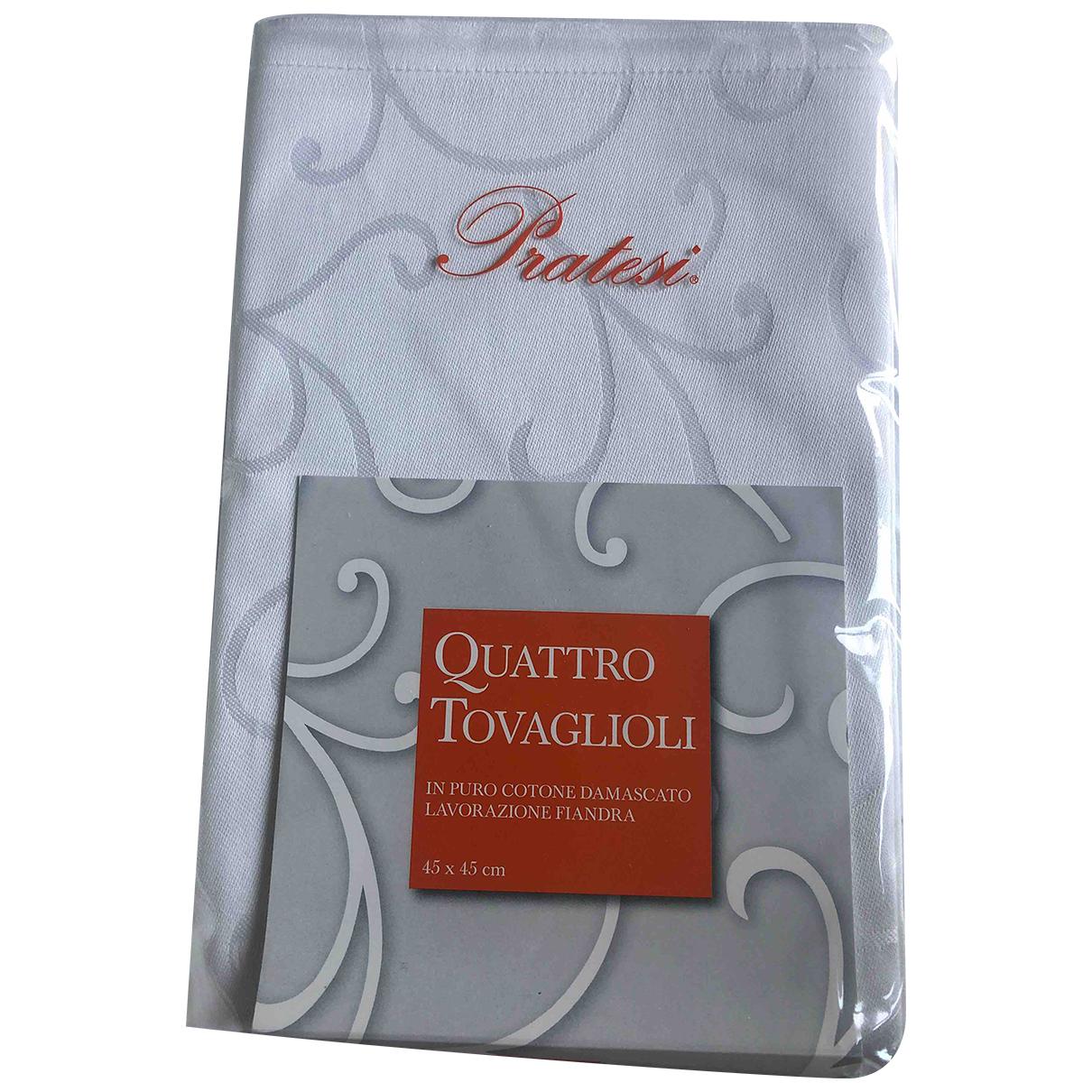 Pratesi Pelletterie N White Cotton Textiles for Life & Living N