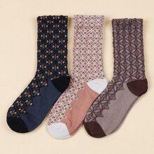 3 pares calcetines de color combinado