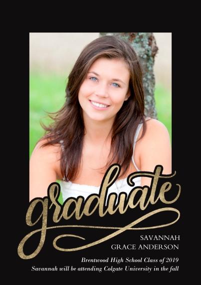 Graduation Announcements 5x7 Cards, Standard Cardstock 85lb, Card & Stationery -Graduate Swirl