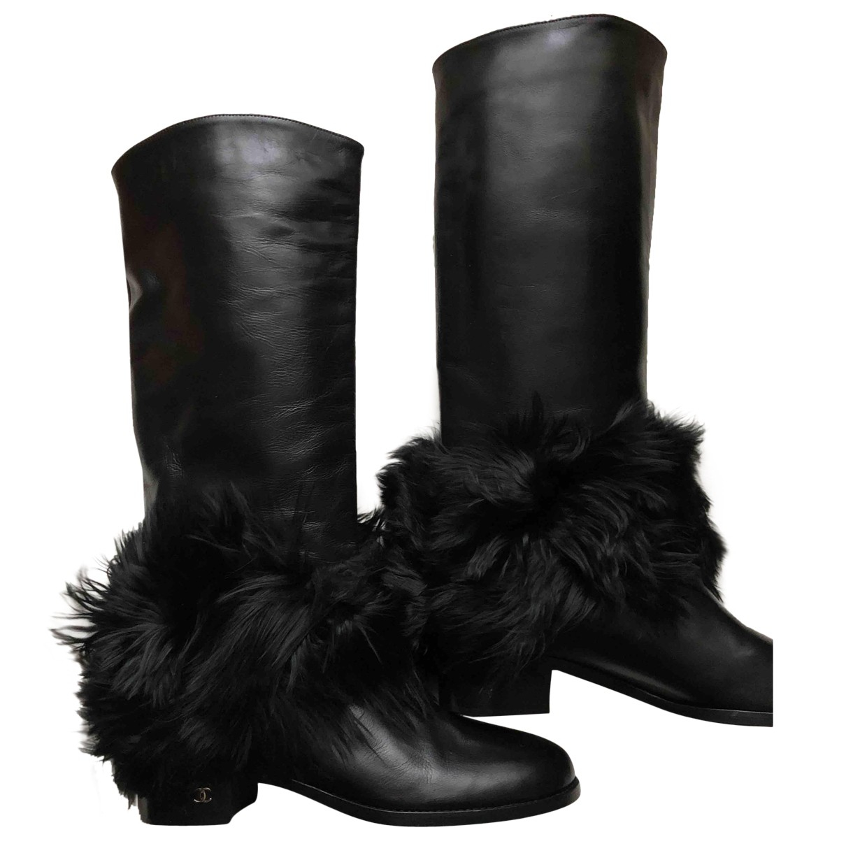 Chanel N Black Leather Boots for Women 40 EU