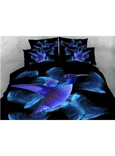 Vivilinen Blue Hummingbird and Feathers Printed 3D 4-Piece Bedding Sets/Duvet Covers