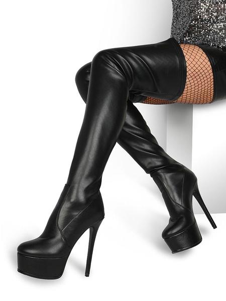 Milanoo Botas por encima de la rodilla Cuero de PU Botas altas negras con plataforma y punta redonda