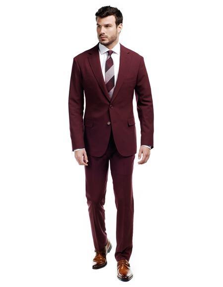 WTX-Velvet2BV Alberto Nardoni Mens Burgundy ~ Maroon Velvet Suit