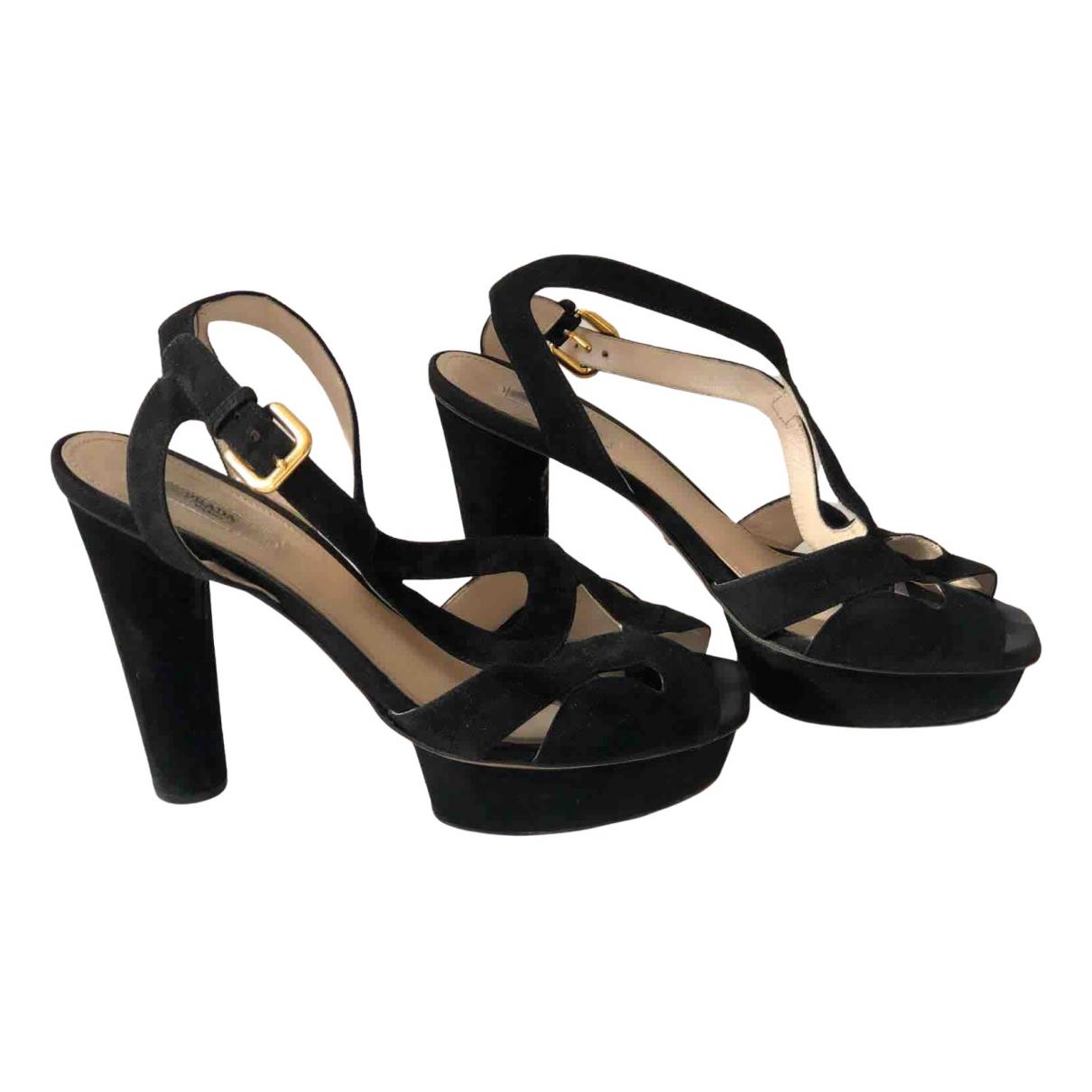 Prada N Black Suede Heels for Women 40 EU