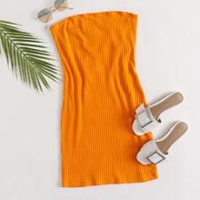 Vestido tubo tejido de canale naranja neon