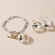 1pc Girls Glass Ball Charm Bracelet & 1pair Earrings