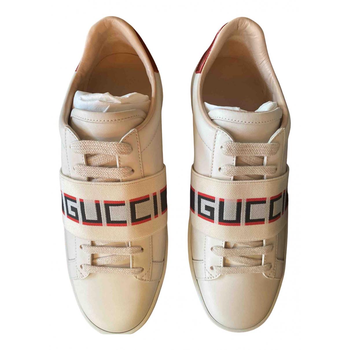Gucci - Baskets Ace pour femme en cuir - beige