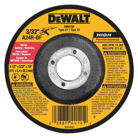 DeWalt Metal Notching Wheel 4-1/2 In. x 3/32 In.
