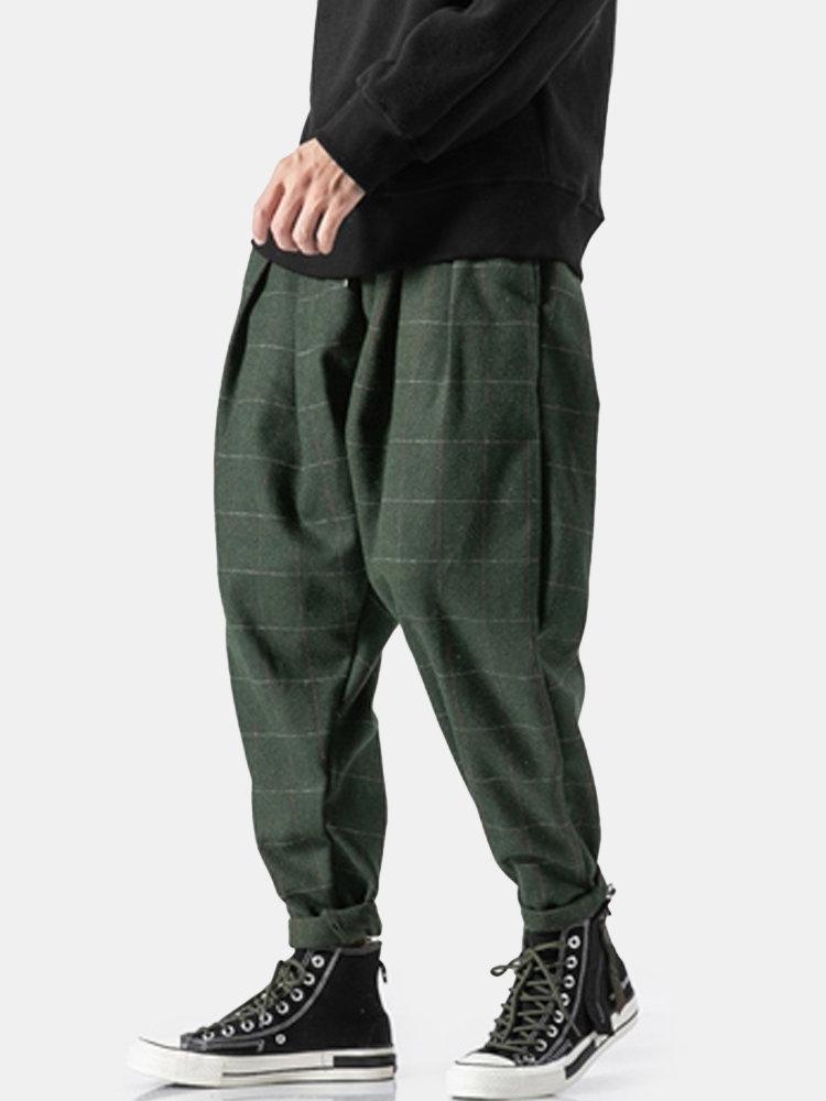 Mens Chinese Style Fashion Plain Plaid Loose Casual Drawstring Harem Pants