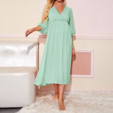 Embroidered Mesh Trim Flounce Sleeve Wrap Nightdress