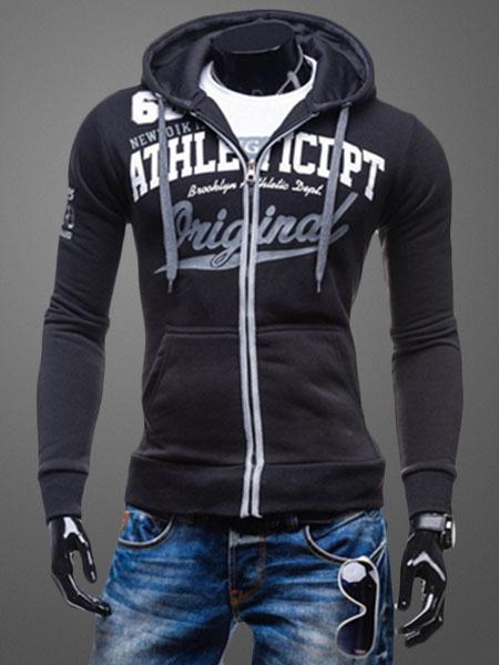 Milanoo Men's Grey Hoodie Zip Up Letter Long Sleeve Casual Hoodie Jacket