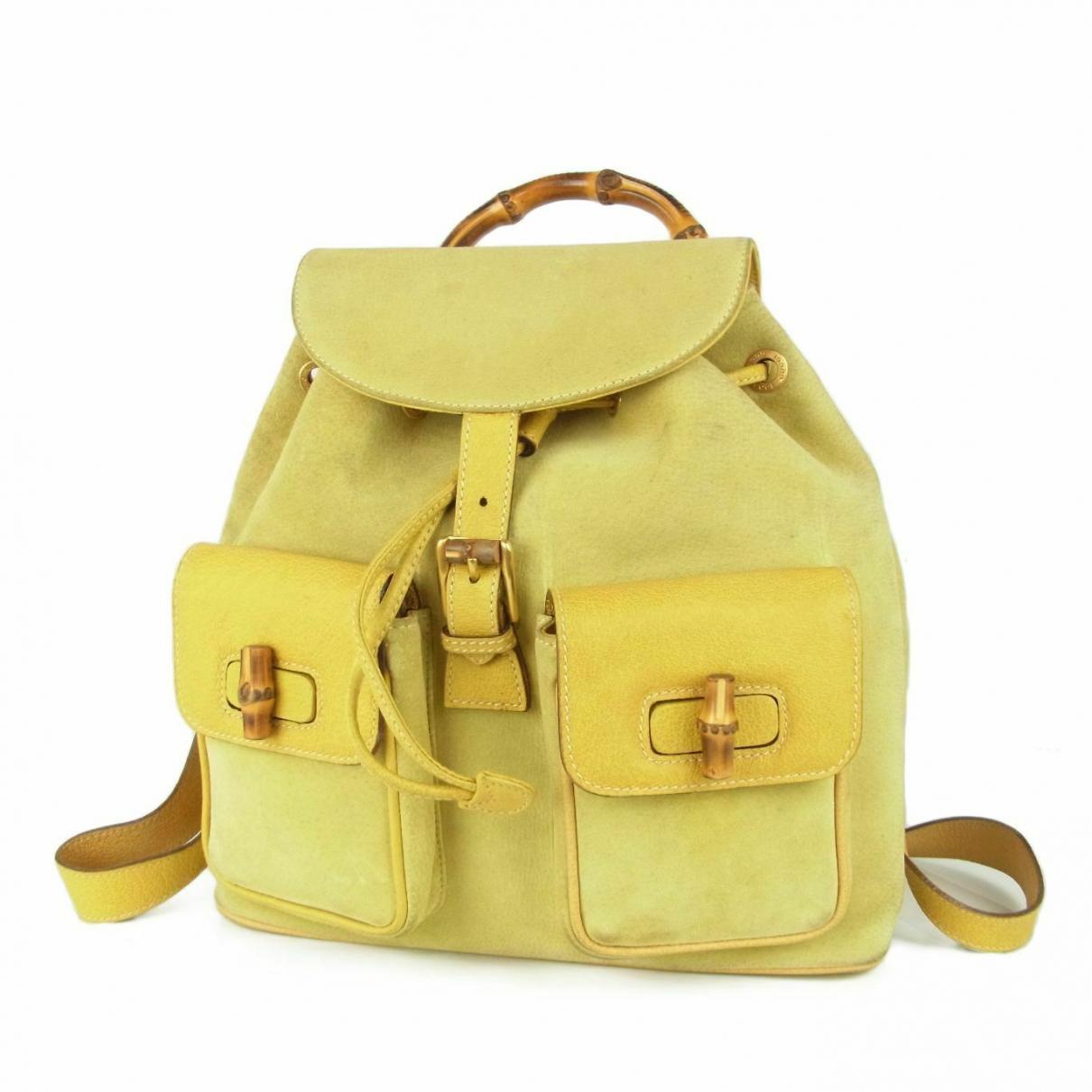 Gucci - Sac a dos   pour femme en suede - jaune