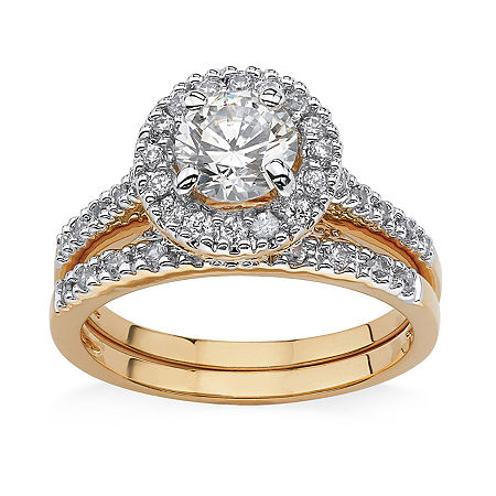 Womens 1 3/4 CT. T.W. White Cubic Zirconia 18K Gold Over Brass Bridal Set, 9 , No Color Family