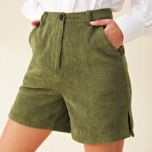 Split Side Cord Shorts Without Belt