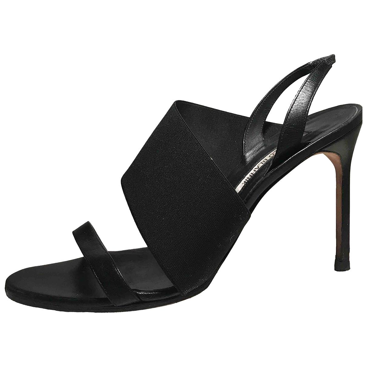 Manolo Blahnik \N Black Cloth Sandals for Women 40.5 EU