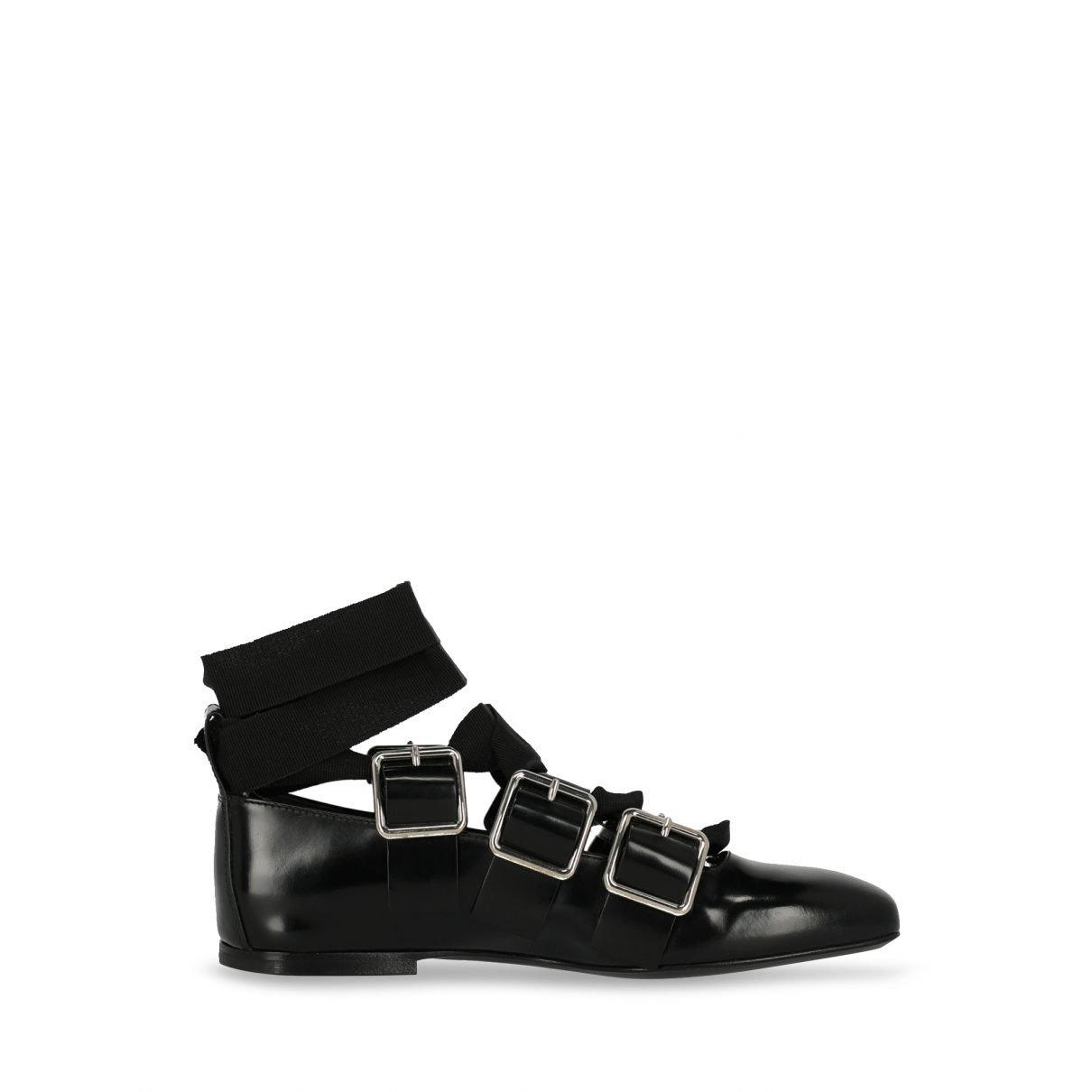 Jil Sander \N Black Leather Ballet flats for Women 35.5 IT